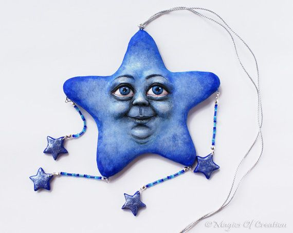 OOAK Smiling star sculpture, one of a kind air dry stone clay hanging decoration. This one of a kind pendant has been created on a wire armature for best resistance.