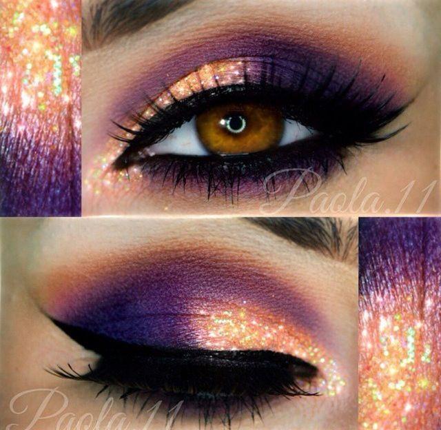 purple and orange eye makeup