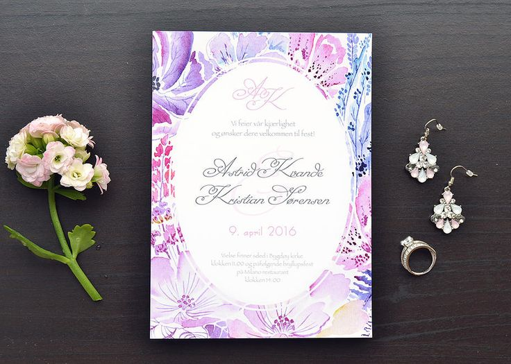 akvarelldesign | Watercolor wedding invitation. Custom stationery design.