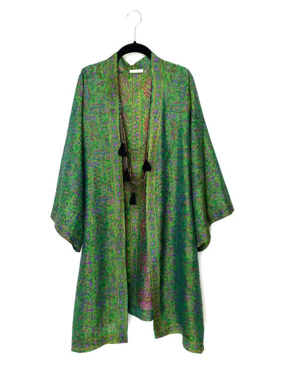 Silk Kimono jacket in green and purple and with a ethnic paisley print border in pure silk.