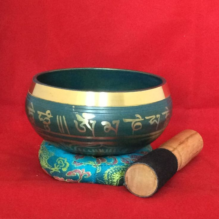 SOLD!!  Hand Painted Buddhist Mantra Blue Coloured Meditation Singing Bowl - Audio Sound