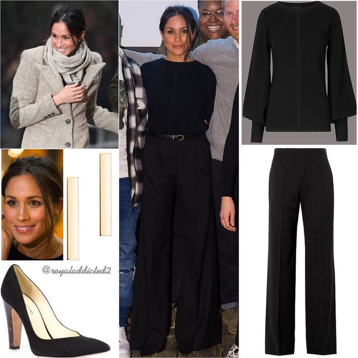 "4,115 Likes, 115 Comments - Royal Addicted (@royaladdicted2) on Instagram: ""Meghan Markle Style! Coat: Smythe; Sweater: Marks & Spencer; Trousers: Burberry; Shoes: Sarah…"""