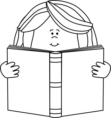 Black and White Girl Reading a Book Clip Art - Black and White Girl Reading a Book Image