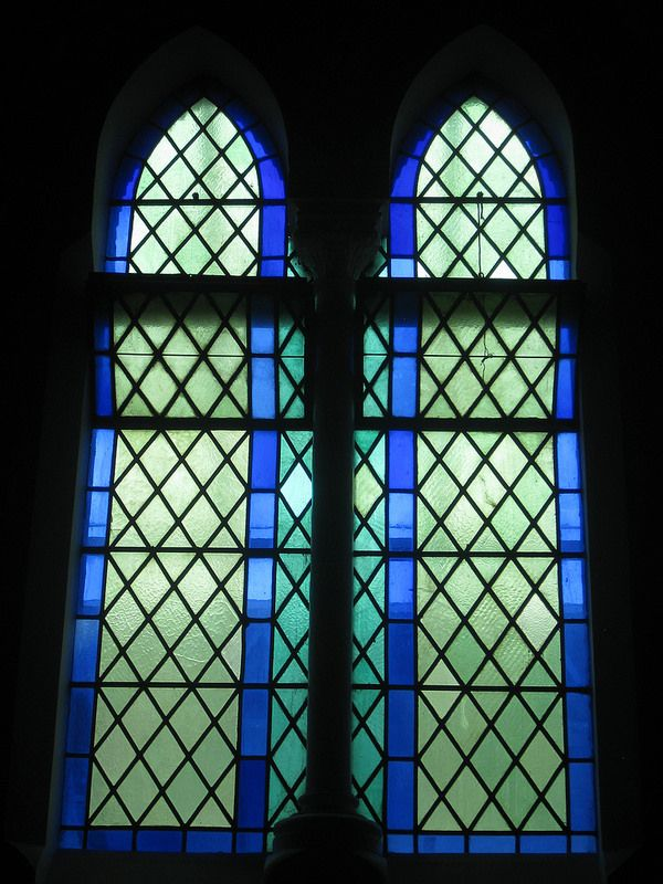 A Latticed Stained Glass Window in Blue; St Jude's Church of England - Corner of Lygon, Palmerston and Keppel Streets, Carlton