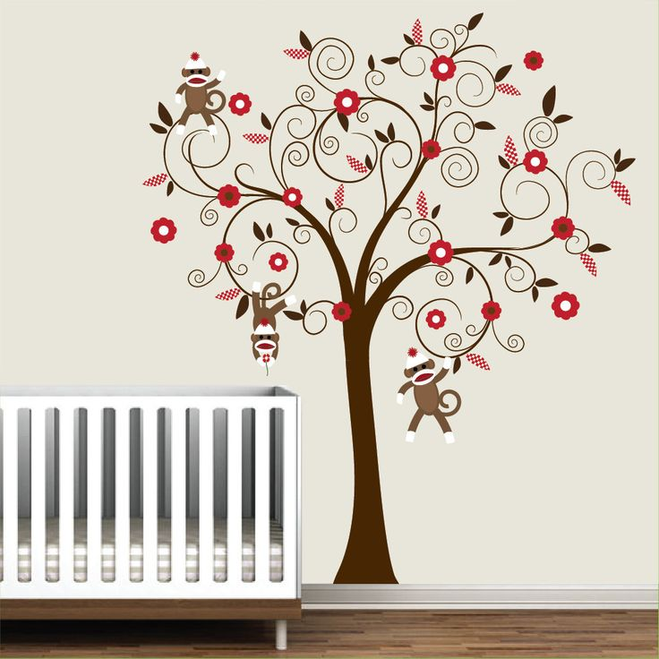 baby vinyl wall decal nursery tree wall decal sticker monkey sock monkey trees the o 39 jays and. Black Bedroom Furniture Sets. Home Design Ideas