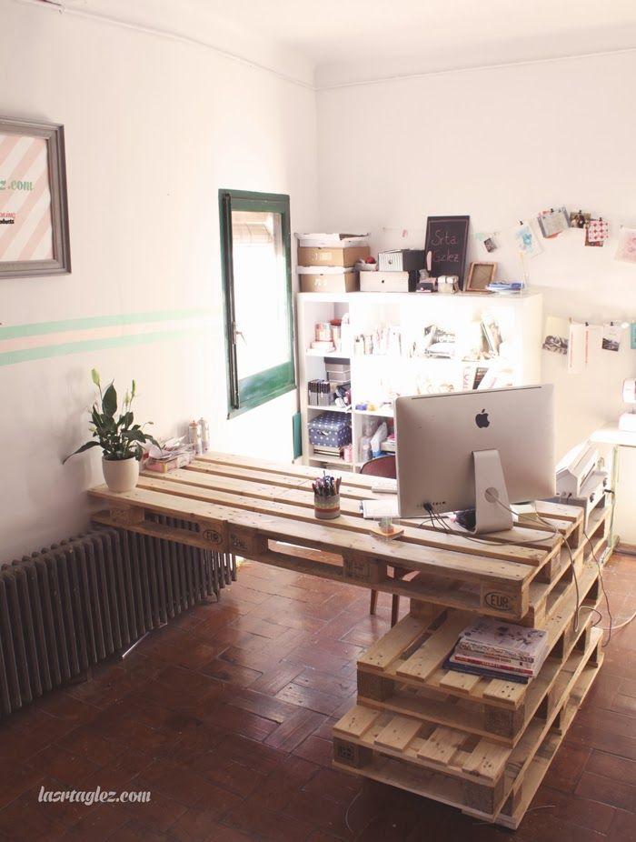 Les 22 meilleures images propos de palette bureau - Fabriquer un bureau en palette ...