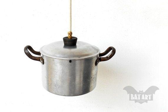 BAT™ ART Pendant Light - Aluminium Vintage small kitchen pot - Lighting Fixture strainer - Chandelier - Color textile wire - E14 lampholder Product Dimensions 13cm Height x 25cm Diameter (including handles) by BatLab