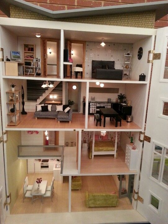 223 best images about modern dollhouse on pinterest for Big modern dollhouse