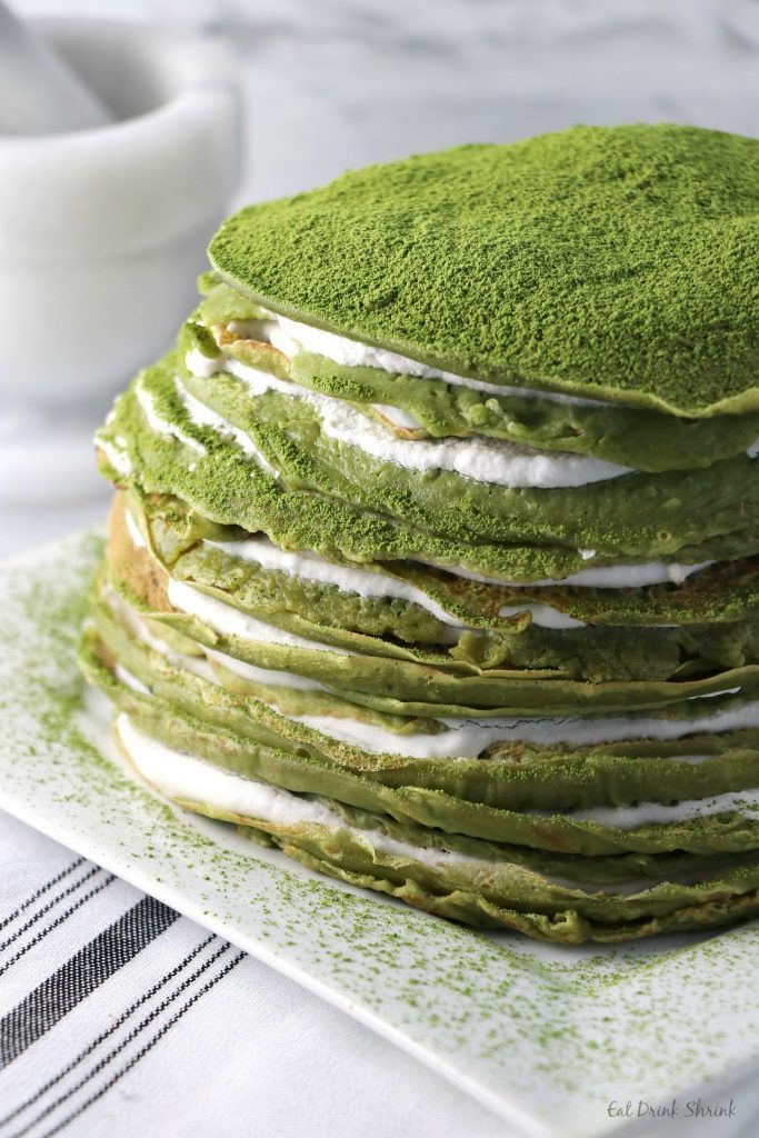 Vegan Matcha Crepe Cake. A lighter, healthier version of your favorite cake with a hint of Matcha! #matcha #dessert #crepe #cake