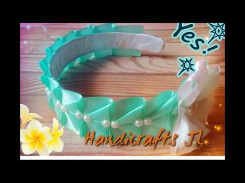 Diadema decorada con flor de listón kanzashi / ribbon headband / kanzashi flower - YouTube