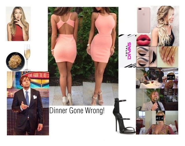"""""""Dinner Gone Wrong!"""" by safia4life ❤ liked on Polyvore featuring COVERGIRL, WWE, Giuseppe Zanotti and Wine Enthusiast"""