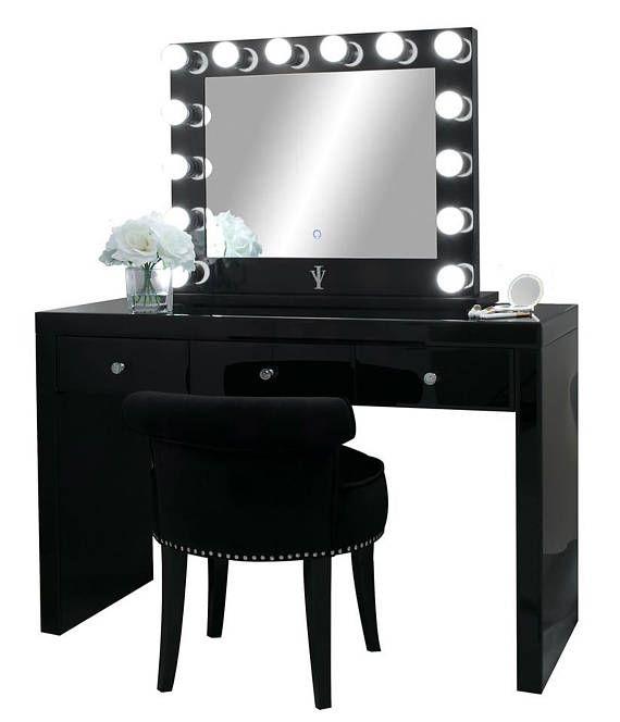 Best Onyx Black Glass Makeup Vanity Table 3 Spacious Drawers In 640 x 480