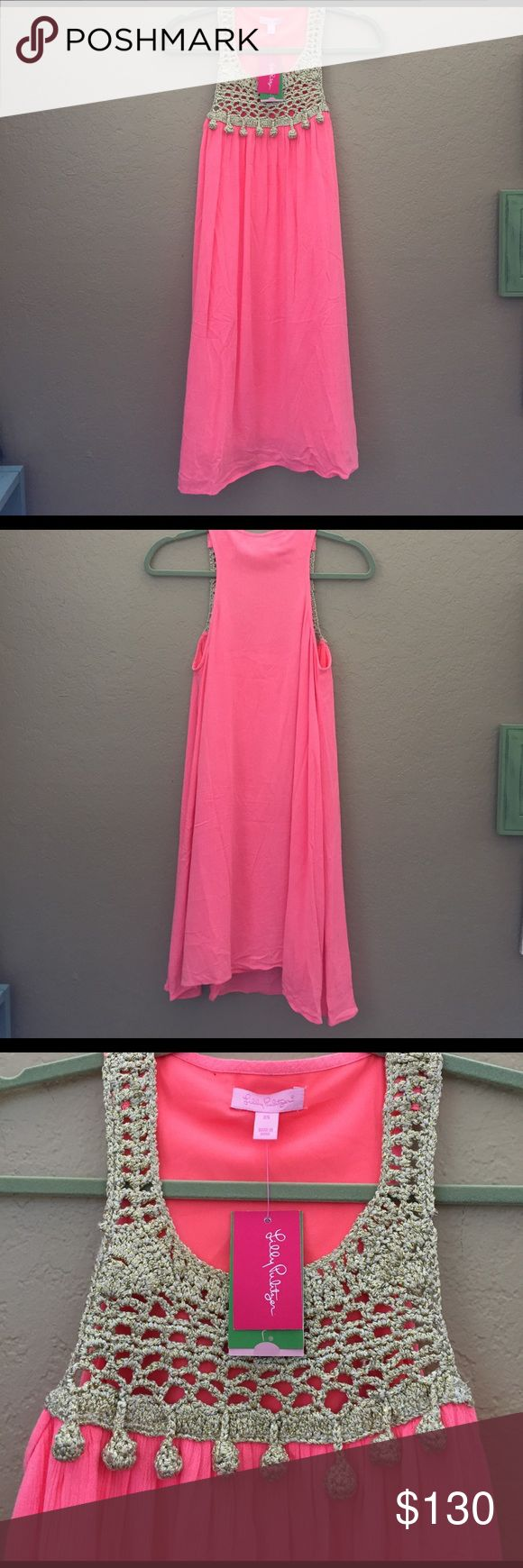 """⬇️Sunday Sale! NWT Lilly Pulitzer Dress - XS NWT Gorgeous Lilly Pulitzer Rachelle Dress, size XS. It's a pretty fluorescent coral color, """"Pink Sun Ray"""". Gorgeous metallic gold detail and pom poms at neckline. *Stock photo shown for modeling purposes only. The color is a much more vibrant pink* Lilly Pulitzer Dresses Mini"""