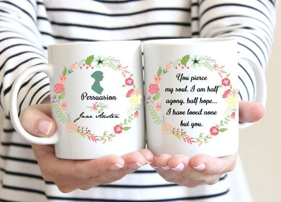 Jane Austen Mug, Persuasion, Captain Wentworth's Letter,Half agony, half hope Quote, Floral Design, Romantic Mug, Statement Mug, UK