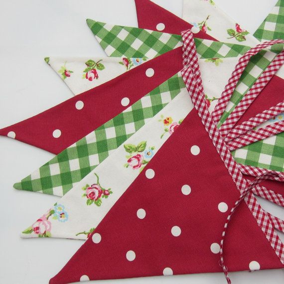 Items similar to Fabric Bunting Christmas Decor Red Green White  10 double sided  flags 9 foot long plus ties on Etsy