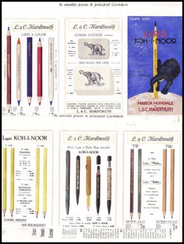 PUBBLICITA-039-HARDTMUTH-KOH-I-NOOR-LAPIS-ELEFANTE-GOMME-MATITE-CARTOLERIA-1913