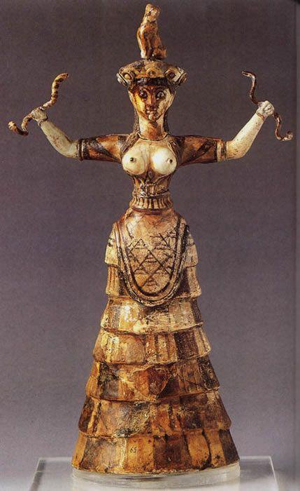 Figurka z przedstawieniem bogini z wężami z Knossos, 1500 BC