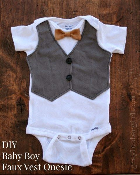 DIY: a onesie turned cute church top for little baby boy