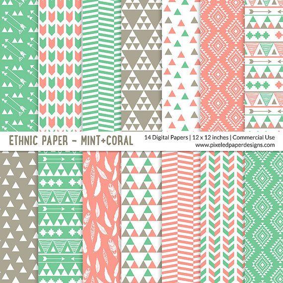 Tribal DIGITAL PAPER Ethnic Pattern  Mint by PixeledPaperDesigns, $3.99