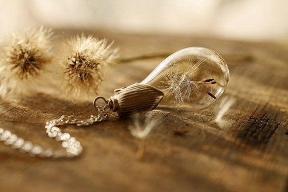 Sterling silver dandelion necklace  make a by RubyRobinBoutique