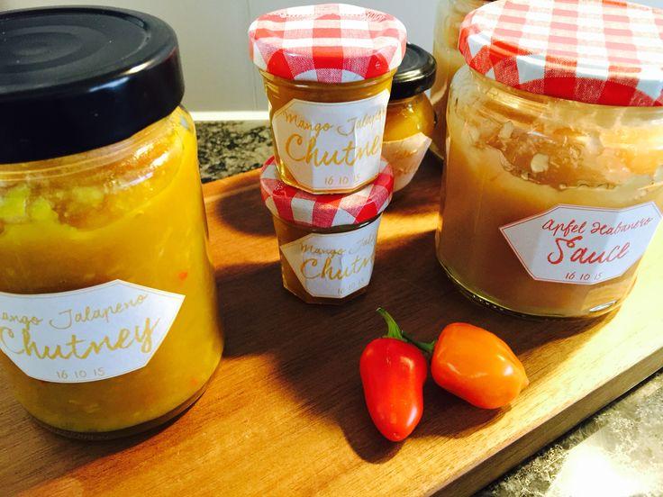Mango-Jalapeno-Chutney und Apfel-Habanero-Sauce