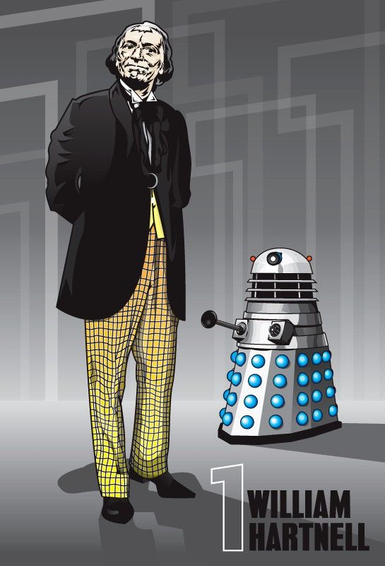 Doctor Who  William Hartnell & Dalek  18 x 12 by DadManCult, $12.99