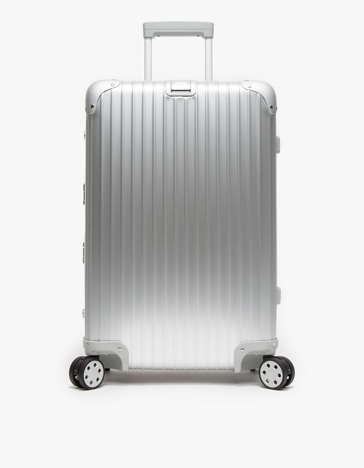 "From Rimowa, an iconic aluminum 64L luggage with a classic trademark groove design 26"" multiwheel design. Features two TSA combination lock closures, two Flex-Divider systems for organized packing, add-a-bag holder, luggage label and multiwheel system for"