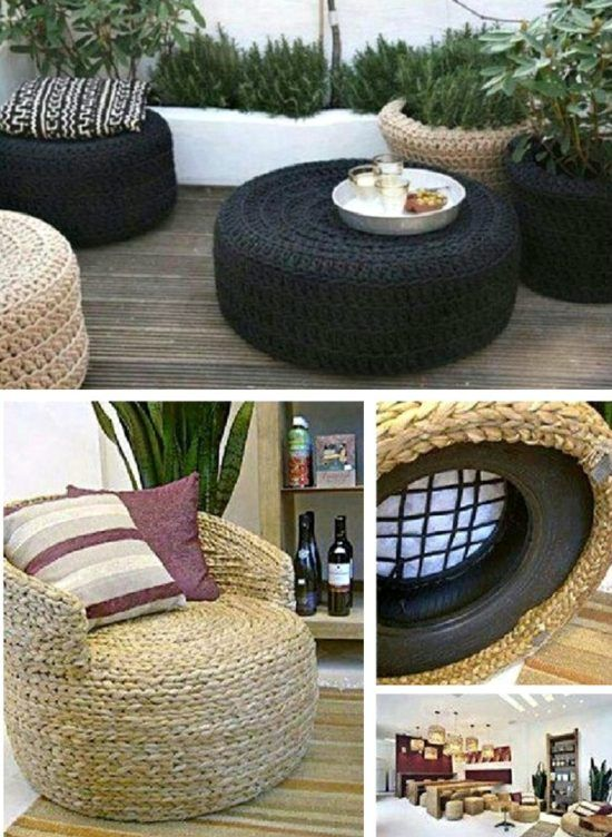 Tire Ottoman Upcycle - Tutorial in our post