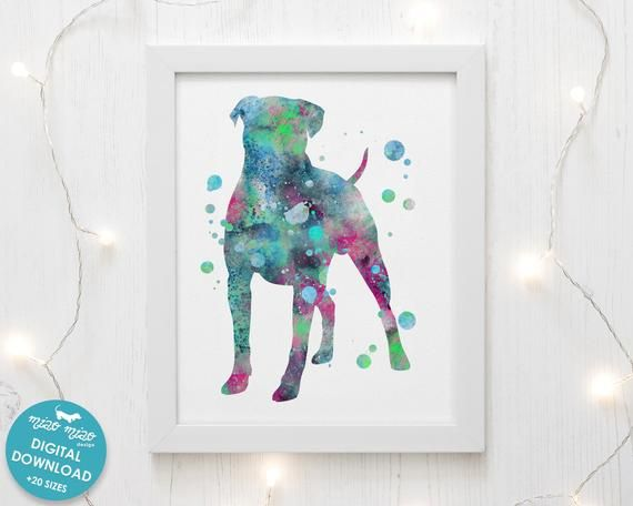 Boxer Print Watercolor Art Printable Dog Poster Dog Painting