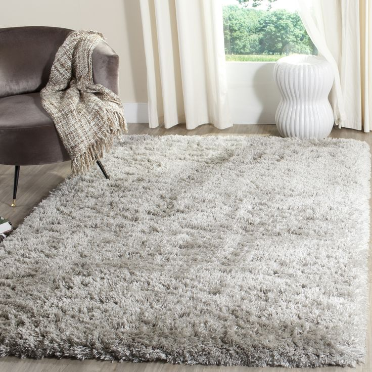safavieh polar silver shag rug 6u0027 7 square size 7u0027