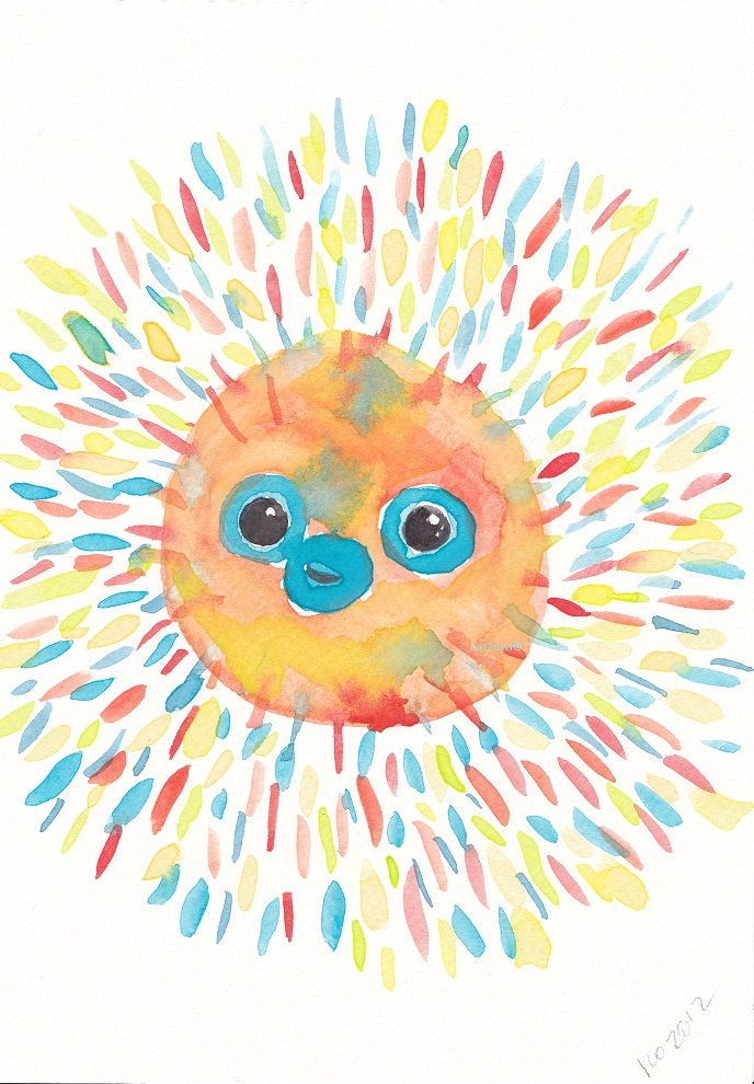 Sunshine Puff the Puffer Fish - Pufferfish  -  ORIGINAL Watercolor  PAINTING 5 by 8