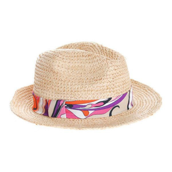Emilio Pucci Hat Capello Pink Straw hat with band ($180) ❤ liked on Polyvore featuring accessories, hats, women, summer hats, summer straw hats, straw hat, emilio pucci and panama hat