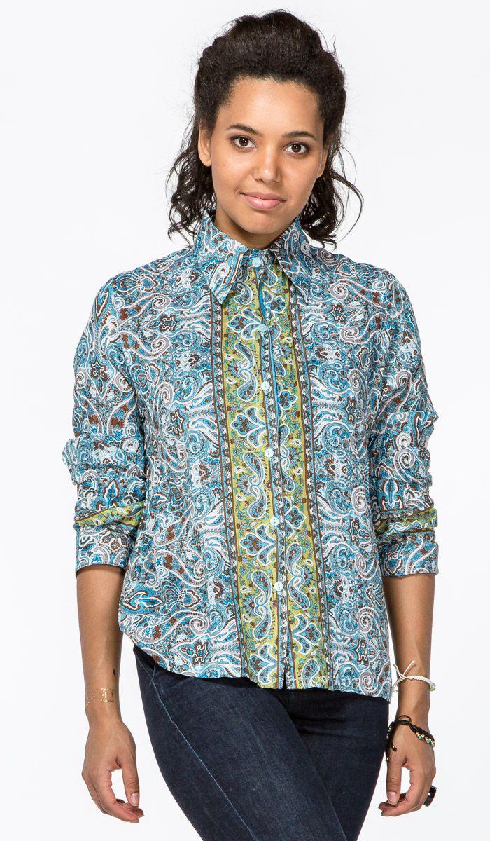 https://indiastyle.ru/tunics-and-cardigans/product/zhenskaya-rubashka-dzhajna  Голубая женская рубашка с узором пейсли - стиль бохо, этника, хиппи, джипси.  Women shirt - hippie, bohemian, gipsy, ethnic style  1820 рублей