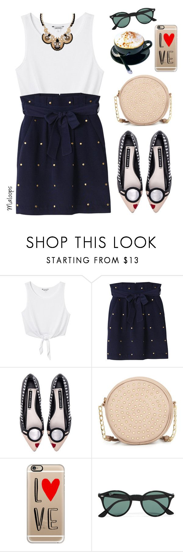 """""""~Every life unlived is a song unsung~"""" by maloops ❤ liked on Polyvore featuring Monki, Alice + Olivia, Neiman Marcus, Casetify, Ray-Ban, Palm Beach Jewelry, Summer, PolkaDots and CasualChic"""