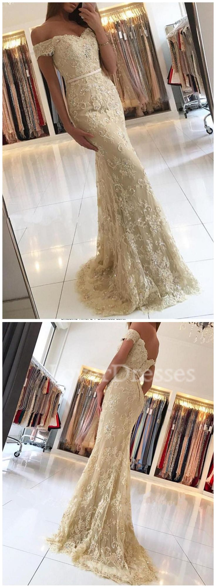 Gold Off Shoulder Lace Mermaid Evening Prom Dresses, Sexy Gold Lace Party Prom Dress, Custom Long Prom Dresses, Cheap Formal Prom Dresses, 17067