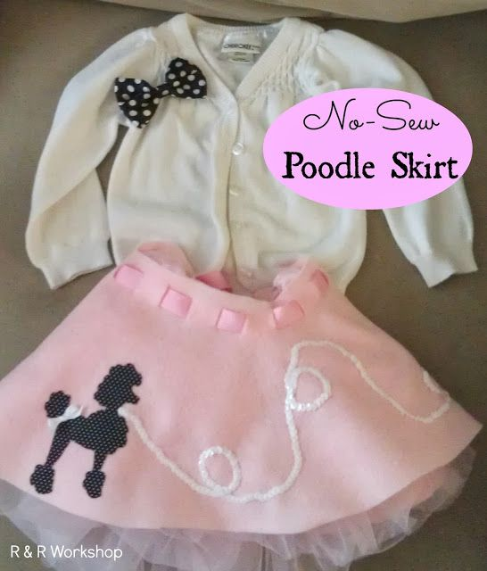 No-Sew Poodle Skirt Tutorial.  Cutest 50's girl outfit! Easy Halloween costume or dress-up you can make in less then an hour.