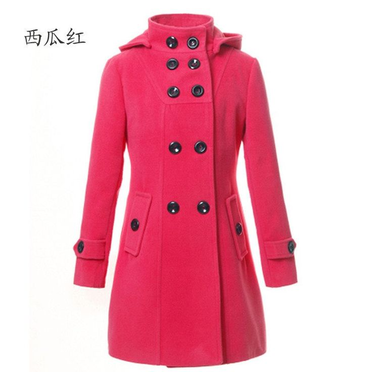 Double-breasted Woolen Long Coat Poncho Winter Autumn Hot Slim Lapel With Hat  Charming Women Overcoat Red Grey Black Pink