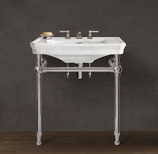 39 best images about small bathroom on pinterest - Bathroom console sink metal legs ...