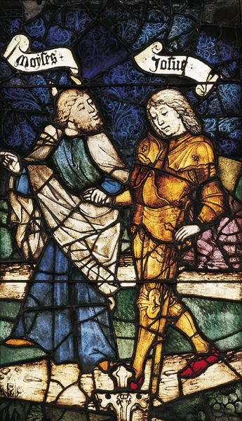Joshua hangs back as Moses leads him by the hand in this 15th-century stained-glass panel from the Church of St. Lawrence in Nuremberg, Germany.