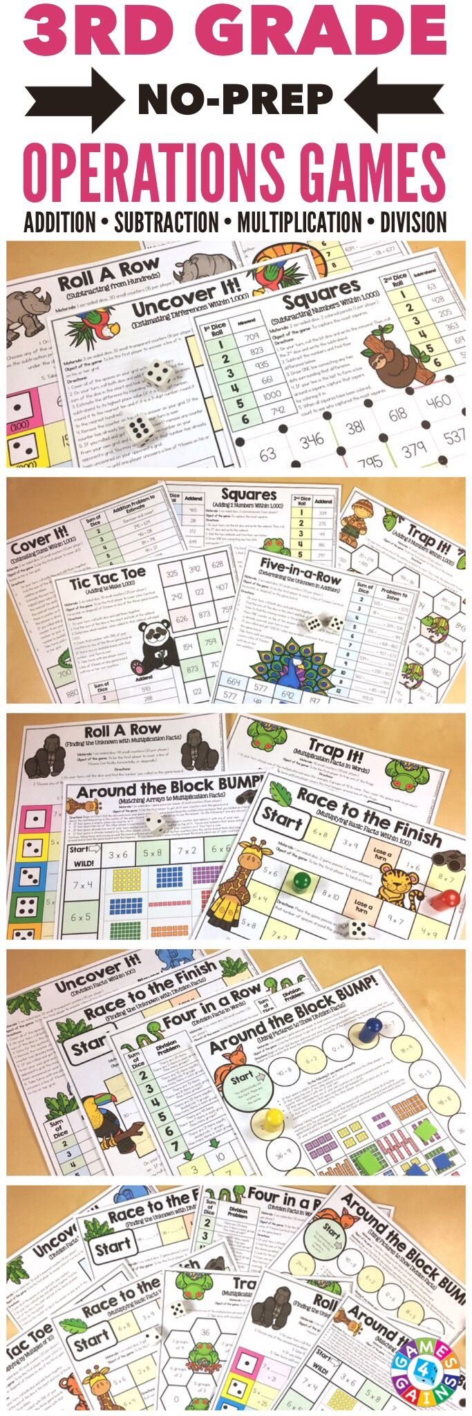 """""""FUN! FUN! FUN! Great for review, practice, and center work!"""" Place Value Games for 3rd Grade contains 18 fun and engaging printable board games to help students to practice addition, subtraction, multiplication, and division."""