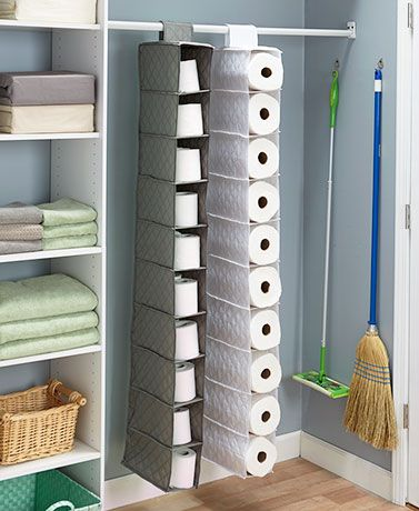 Store bulk items such as paper towels, toilet paper, or shoes in this Oversized Quilted 10-Pocket Hanging Storage unit. It