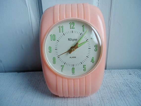 Pink Vintage Alarm Clock with Glow In The Dark Turquoise Hands