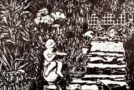Garden Music - Craig Gough Linocut 2001 72 x 51 cm $1100.00 Available at www.cascadeprintroom.com.au