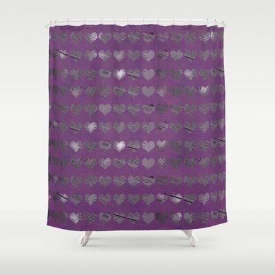 Cuori viola doccia tenda  tenda di di ShelleysCrochetOle su #EtsySpecialT #IntegrityTTEtsy