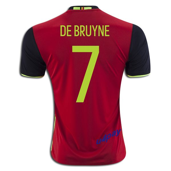 2016 UEFA Euro Belgium Kevin De Bruyne 7 Youth Home Soccer Jersey
