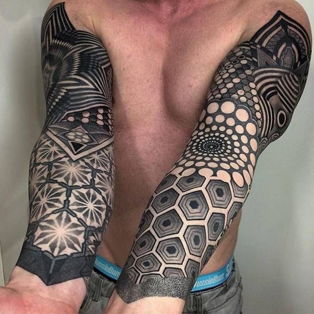Image result for geometric sleeve tattoos