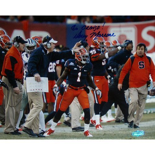 Doug Marrone pins. Bowl on Sidelines Pointing 8x10 Photo w Go Orange Insc. - Doug Marrone led the Syracuse Orange to an 8-5 record during the 2010 college football season including a 36-34 victory on December 30 2010 in the New Era Pinstripe Bowl at Yankee Stadium. Doug Marrone has hand signed this 8x10 photograph of him pointing from the sidelines during the New Era Pinstripe Bowl on 12-30-2010 and added the inscription Go Orange! A Steiner Sports Certificate of Authenticity is included…