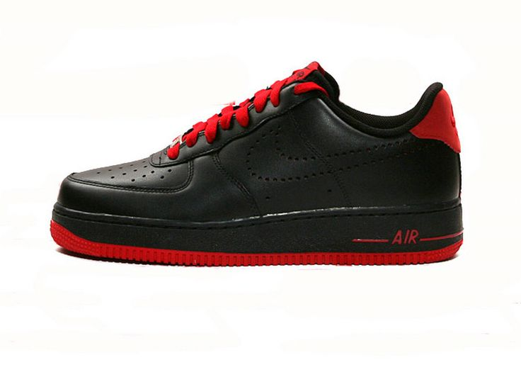 Nike Air Force Low Hommes Noir Rouge