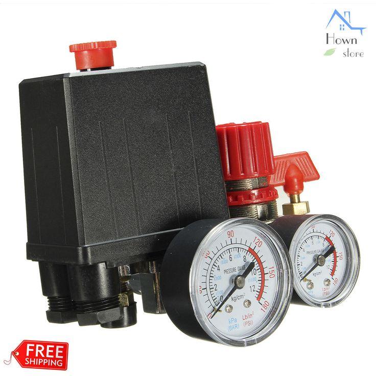 Air Compressor Regulator Pressure T Valve Switch 180P Pipe Manifold Relief Gauge #UnbrandedGeneric #RegulatorPressureTValve