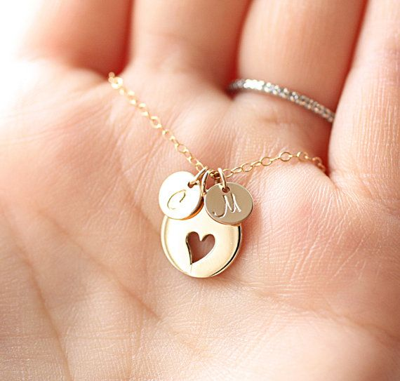 Personalized Mother's Necklace Two Gold Initial by BijouxbyMeg, $38.00  LOVE THIS!